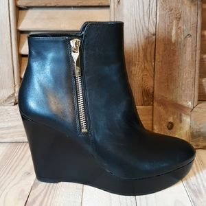 MICHAEL Michael Kors Clara Leather Wedge Booties